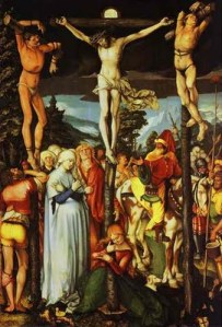 Hans Baldung. The Crucifixion. 1512. Oil on wood. Gemaldegalerie, Berlin, Germany. More.