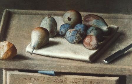 Liotard, figues noirs et poires