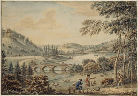 A VIEW OF THE GARDEN AT STOURHEAD, WILTSHIRE, THE TEMPLE OF APOLLO, THE PALLADIAN BRIDGE AND THE PANTHEON (1775) by Coplestone Warre Bampflyde (1719-91) Watercolour at Stourhead, Wiltshire